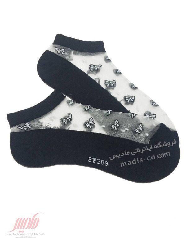 جوراب زنانه مچی شیشه ای طرح پاپیون