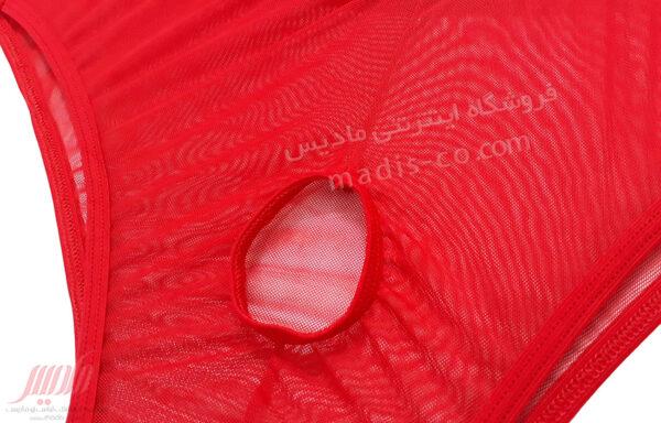 شورت مردانه اسلیپ توری سوراخدار قرمز