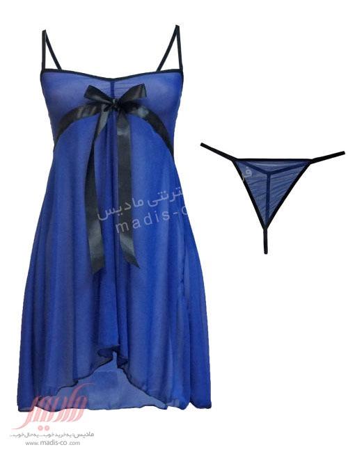 لباس خواب زنانه توری کوتاه آبی