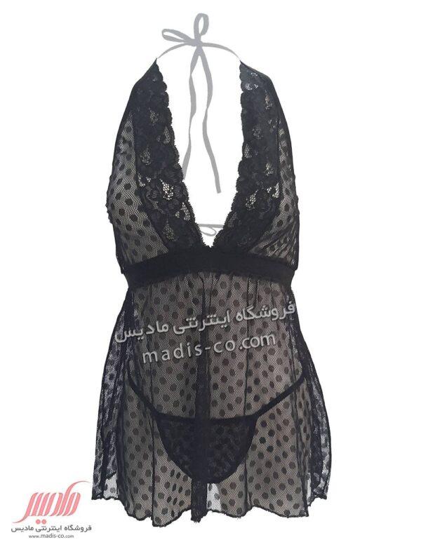 لباس خواب زنانه توری کوتاه توپ توپی