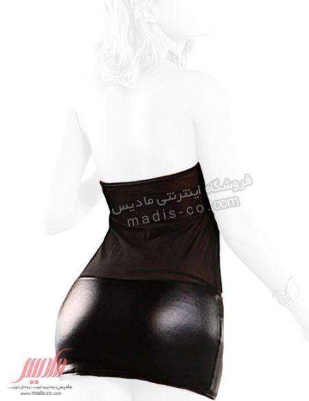لباس فانتزی زنانه چرم و تور زنجیردار