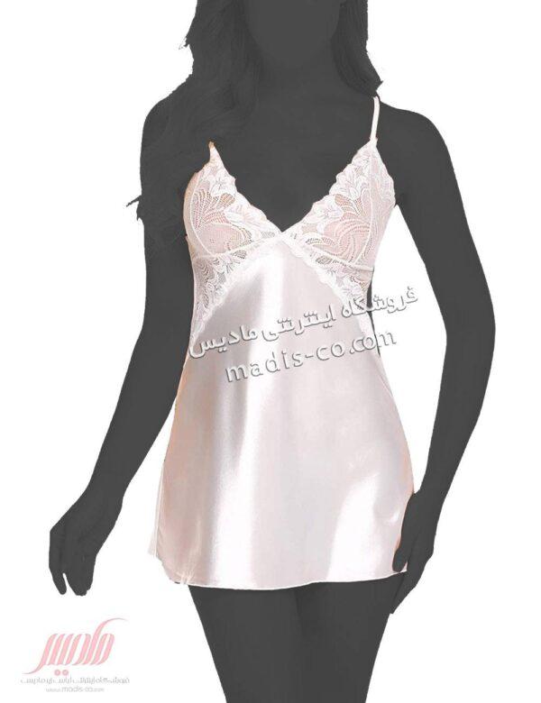 لباس خواب زنانه ساتنی کوتاه سفید SISENT