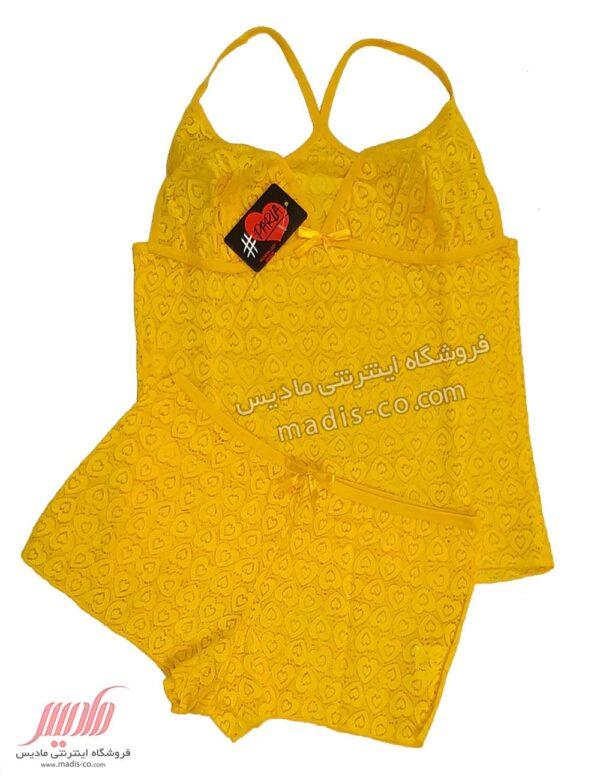 تاپ شورت زنانه تمام دانتل طرح قلب زرد