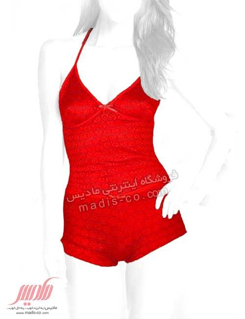 تاپ شورت زنانه تمام دانتل طرح قلب قرمز